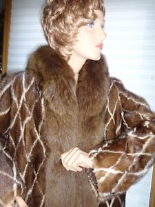 SALE! ELEGANT NATURAL  MINKFOX  FUR JACKET SIZE L