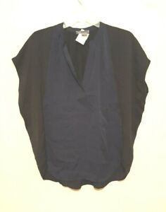 VINCE Navy blue-Black SILK Blouse Top Extra Small XS EUC