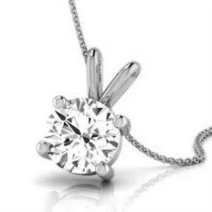 NATURAL ROUND DIAMOND F SI2 SOLITAIRE PENDANT NECKLACE 14K WHITE GOLD 0.5 CARAT