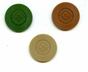 The Military Playing Card Company, mfg sample chips, 3 pcs