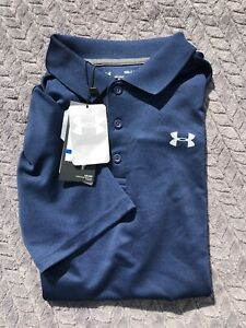 Under Armour Boys Youth XL Polo Shirt Loose Fit Heat Gear Navy blue 14 16  New