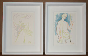 Listed French Artist Poet Jean Cocteau Two Small Original Lithographs Signed