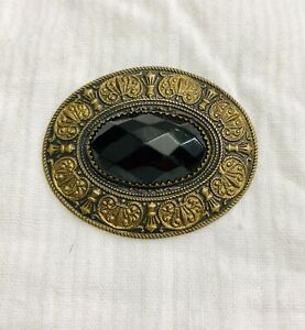 SUPERB!!! JEWELED METAL BUTTON ~ W FACETED Black Glass Stone ~Intricate Design~