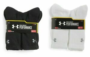 Under Armour Performance HeatGear Crew Socks 3 OR 6 Pairs Mens Size 9 12.5 $24.99