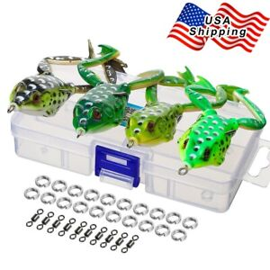 4Pcs Snakehead Topwater Frog Fishing Lures Crankbait Tackle Bass Minnow Bait