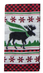 Camp Moose Kitchen Towel Dual Purpose Flat Weave Front, Terry Cloth Back