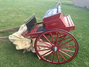 Two Wheel Horse Show Pleasure Cart Sulky With Cover Raber Mt Eaton Ohio Red Grey