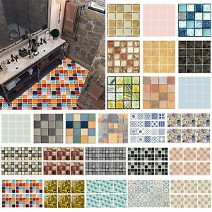 6 10 24pcs Waterproof Tiles Mosaic Wall Stickers Kitchen Home Bathroom Kitchen