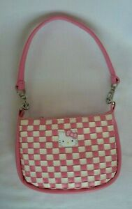 Sanrio Smiles 2007 HELLO KITTY Mini Pink amp; White Waffle Purse Handbag