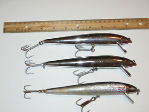 Lot of 3 Cotton Cordell Vintage Red Fin Redfin 7 inch Minnow Lures