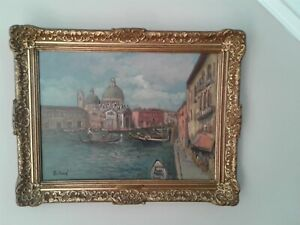 Antique Vintage Italian Signed Oil Painting  Framed Listed Artist Olga Rolland 1
