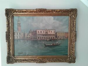 Antique Vintage Italian Signed Oil Painting  Framed Listed Artist Olga Rolland 2