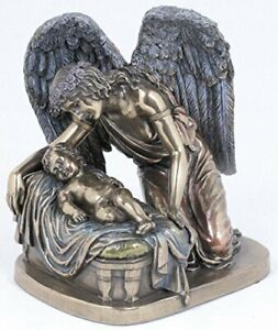 Guardian Angel Whisper with Christ Child 6 Inch Cold Cast Bronze Stone Statue...