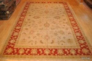 Fine Quality 10'X14' HANDMADE Mahal Sultanabad Design Rug Beige orange red gold