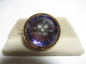 FANTASTIC VICTORIAN 18K PIN W 20 CT NATURAL AMETHYST & ROSE CUT DIAMONDS
