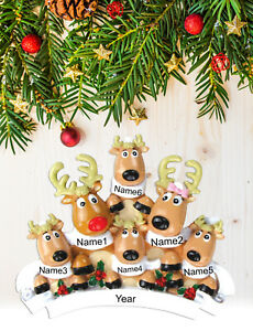 Personalized Christmas Tree Ornament Holiday Gift, Rain Deer Family of 2-3-4-5-6