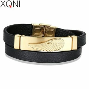 XQNI 4 Colors for Choice Wing Pattern Stainless Steel Leather Bracelet For Men