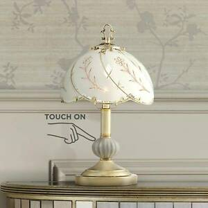Traditional Accent Table Lamp Polished Brass Touch On Off Floral for Bedroom