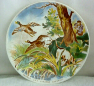 Antique French Majolica plate, signed DV Sarreguemines :  wild duck hunting