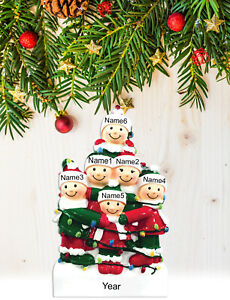 Personalized Christmas Tree Ornament Gift, Tangled in Lights Family of 2-3-4-5-6
