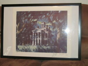 THE HAUNTED MANSION LITHOGRAPH SAM MCKIM LE 300 W COA SIGNED DISNEY GALLERY 1987