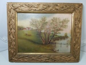 ANTIQUE FARM LANDSCAPE Oil painting on boardw Cows & Duck- framed