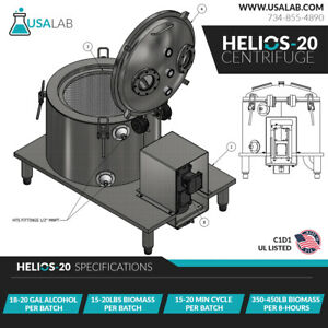 USA Lab 20L Helios-20 Jacketed SS304 Ethanol Centrifuge - USA Made - C1D1