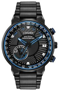 New Citizen Satellite Wave GPS Solar Black PVD Steel Men's Watch CC3038-51E