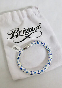 BRIGHTON Woodstock Indigo Blue White amp; Blue Leather ANCHOR Pattern Bracelet NWT