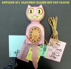 ANTIQUE-1940s-PINK-ELECTRIC -KIT CAT KLOCK-KAT CLOCK-ALLIED-ORIGINAL-VINTAGE-WKS