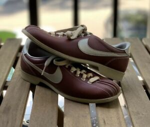 Vintage 80s Nike Womens Size 7 Bowling Shoes Maroon Red Silver Gray Pre-Owned