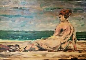 Attributed to Picasso Large Oil Painting Impressionist Seascape with Bather