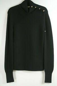 NEW Chloe Button Mock Neck Sweater in Black - Size M #S656