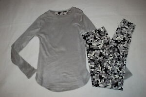 Womens BASE LAYER SET Stretch Velour GRAY TOP Black Camo Flower Leggings S 6 8 $24.00