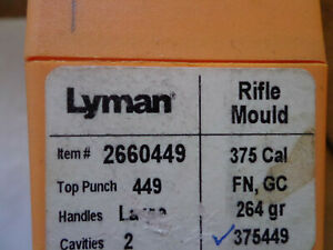 Lyman Bullet Mould Double Cavity 375 Caliber FN Gas Check 375449