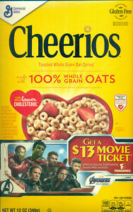 Cheerios Avengers Endgame Ticket Offer Cereal Box Cut Out Poster FLAT EMPTY 2019 $3.99