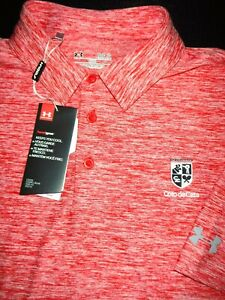 NEW! UNDER ARMOUR GOLF POLO SHIRT -L- RED WHITE HEATHER STRETCH -HEAT GEAR -SOFT
