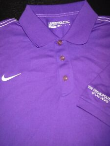 NIKE GOLF POLO SHIRT -L- ROYAL PURPLE WHITE- DRI-FIT -STRETCH SWOOSH -SMOOTH