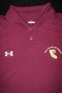 UNDER ARMOUR GOLF POLO SHIRT -L- MAROON RED SQUARE -STRETCH -HEAT GEAR -SMOOTH