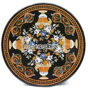 Black Marble Dining Hallway Table Top Pietra Dura Inlay Design Home Decor H3855