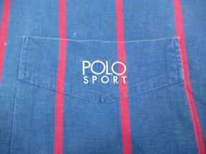 VINTAGE Ralph Lauren Button Shirt Polo Sport SEWN  Striped Spell Out MENS 92 LO