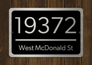 Customized Home Address Plaque Silver Text Metal 12 x 8 House Number Sign