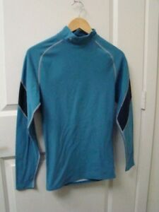 Under Armour Women's Running Shirt Mock Neck Long Sleeve Fitted Blue Size M