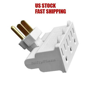 3 Outlet Swivel Tap UL adapter 3 prong Converts one outlet into Three wall Plug