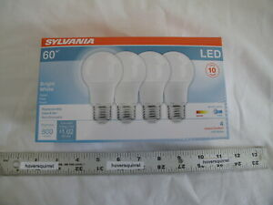 4 NEW Sylvania 60w LED A19 Light Bulbs Bright White 3500K Non Dimmable