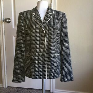 Talbots Black Off White Tweed Style Blazer Jacket Career Professional Size 8