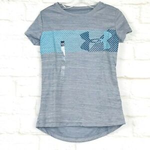 Under Armour Girls Size X-Small XS Grey Athletic Shirt Loose Short Sleeve