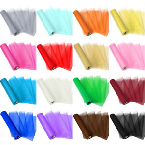 28 Yards Organza Tulle Roll Fabric Chair Bow Sash Table Runner Wedding Party 11