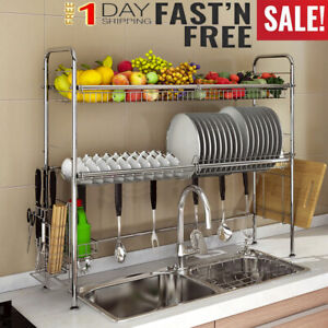 Stainless Steel Sink Drain Rack Kitchen Shelf Dish Cutlery Drying Drainer Hold