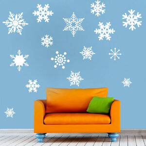 Removable Snowflakes Wall Decal Christmas Winter Snowing Snow Beautiful Art, d28
